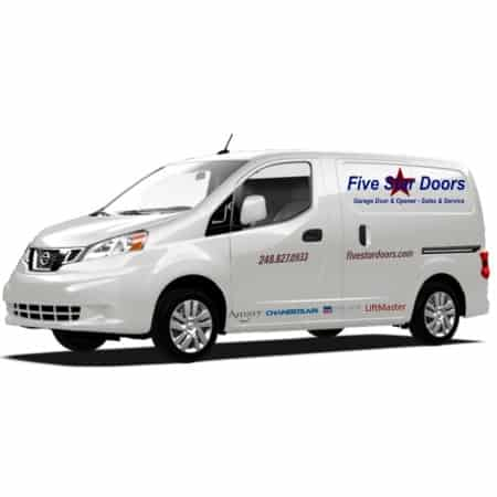 "alt=""five star doors service vehicle that provides garage door repair service to residents of S.E. Michigan"""